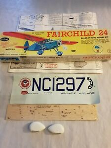 Vintage Guillows Fairchild 24 Balsa Kit - Box, plan, decals and a few parts only
