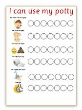 Reusable - I CAN USE MY POTTY - GIRL- Reward Chart - Wipe clean - With pen