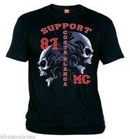 01 Support81 Hells Angels Tribal Scull Black biker T-Shirt  Big Red Machine 1%
