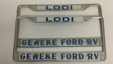 LODI CA FORD RV LICENSE PLATE FRAMES METAL TAG Set of 2 dealership embossed tag