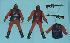 vintage Mego Planet of the Apes pota SOLDIER APE LOT x2 brown tunic lizard tunic