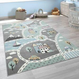 Kinder-Teppich, Spiel-Teppich Für Kinderzimmer, Mit Straßen-Motiv, In Grün Grau