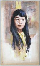 DARRELL GREENE AMERICAN BOOK ILLUSTRATOR PORTRAIT ASIAN GIRL W/ LONG BLACK HAIR