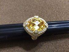 New Judith Ripka 14K Clad Sterling 9.50 ct Yellow Diamonique Ring 8 MSRP $208