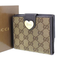GUCCI Original GG Canvas Heart Bi-fold Wallet Brown Italy Vintage Auth #PP175 S