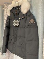 Moose Knuckles Men's 3Q Jacks Granite W/ Natural Fox Fur Size S Dark Grey Jacket