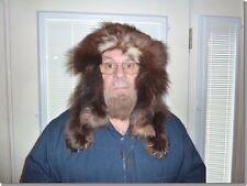 (AK-Hat-1) Mountain Man taxidermy Wolverine fur hat full pelt Trapper wool lined