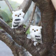 A Pair White Furry Owl Simulation Cute Christmas Ornament Decoration