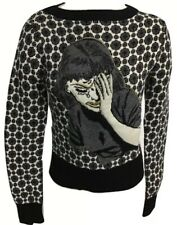 Diesel Black Gold Woman's Crying Girl Crewneck Size Small EUC RARE B & W & Gray