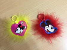 Set of 2 Disney Fur Keychains From Barbie Loves Mickey & Minnie Mouse Dolls