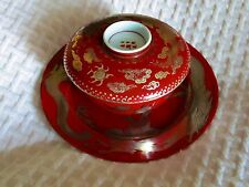 ANTIQUE JAPAN  PORCELAIN  Covered Rice Bowl Dish EXPORT Gold Silver Dragon Rare