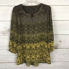Gypsy 05 Snakeskin Animal Print Size M Sheer Silk Blouse Top Yellow Olive