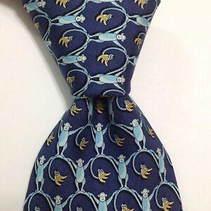 VINEYARD VINES Martha's Silk XL Necktie USA Designer MONKEY LINK Blue/Yellow NWT