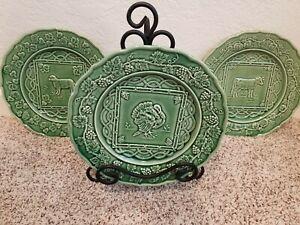 "3 Green 9"" Bordallo Pinheiro Embossed Plates - Turkey, Sheep, & Cow 🦃🐑🐄"