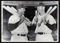 SLUGGERS! Yankees Hitters BILL SKOWRON & MICKEY MANTLE Powerful Vintage Photo