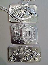 Ex voto, Old Greek tamata Silver.925, Set of -3- pcs: Eye-House-Car, Free Ship !