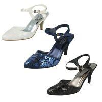 Spot On F9R664 Mujer con Lentejuelas Zapatos Negro,Azul Marino y Blanco UK 3-8