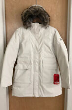 NEW! NORTH FACE Dunagiri Down Parka Women's L Vaporous Grey Fur Hooded MSRP $279