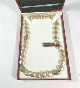 Woman's Genuine Masani 14kt Pearlized Bead Necklace, Fashion Design # 7183