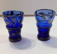 Victorian Shot Glass Cobalt Blue Sterling Silver Floral Vines Set Of 2