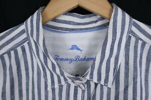 Tommy Bahama Mens Linen Shirt sz L, XL Blue White Striped Long Sleeve