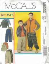 McCall's Boy's Long Sleeve Shirt Vest Cargo Camo Pants M6222 Size M - XL NEW