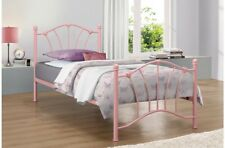 Cute Childrens Bed Frame With Beautiful Heart Castings 3ft Single In Pink