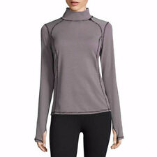 Xersion Women's Mock Neck Pull Over Long Sleeve Shirt Black SMALL Athletic