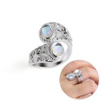 Regenbogen Mondstein Silber Ring 925 Sterling Silber Schmuckgröße 6-10 HQ