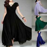 ITS- Women Solid Color V Neck Short Sleeve Maxi Dress Gown Plus Size Co