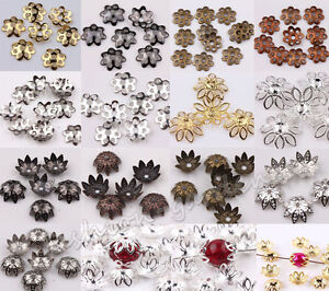 Wholesale Lots 500pcs Silver Gold Plated Metal Flower Bead Caps 6mm Findings /bw