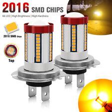 2X H7 LED 2016 66SMD Fog Light Amber Beam DRL Car Driving Lamp Bulb Super Bright