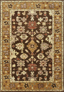 Oushak Rug, 4'x6', Brown, Hand-Knotted Wool Pile