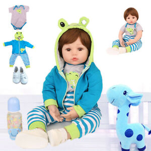 """18"""" Silicone Reborn Dolls Baby Boy Real Life Like Newborn Toddler Doll Gift Toy"""