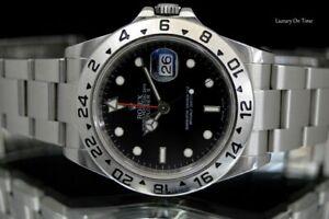 2009 MINT MEN'S ROLEX EXPLORER II 16570 STAINLESS STEEL GMT BLACK DIAL 40MM.