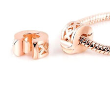 ROSE GOLD PLATED CROSS CLIP STOPPER CHARM BEAD FOR BRACELET OR NECKLACE