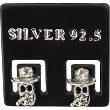 1832b4c74 Pair of 925 Sterling Silver Cowboy Skull Stud Earrings Ear Studs Mens  Jewellery