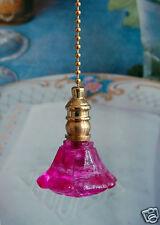 2 of Hot Pink Hand Made Cut Glass Ceiling Lighting Fan Pulls