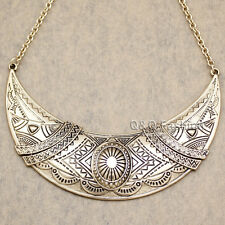 Aztec Gypsy Mayan Gold Mexican Moon Indian Carved Concho Choker Bib Necklace H9