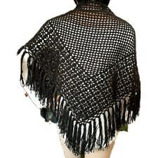 Scialle donna rete uncinetto in cotone con frange - nero