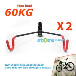 2x Bike Hook Bicycle Hanger Wall Mounted Garage Storage Rack Mount Steel