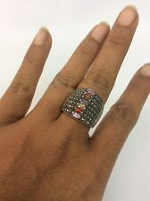 Beautiful sterling Silver 925 Marcasite Multi Gem Stones Wide Band Ring Size 8