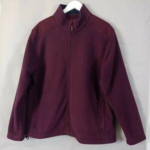 M&S Blue Harbour Mens Fleece Jacket Large Burgundy Red Full Zip Outdoor Hiking