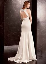 Vera Wang White Old Hollywood Vintage Open back Satin Wedding Gown Oyster Sz 16