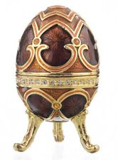 Faberge brown egg trinket box hand made by Keren Kopal with Austrian crystals