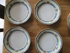 4 JEAN BOYER LIMOGES YELLOW BLUE with PINK ROSES GOLD TRIM SOUP BOWLS c.1920s