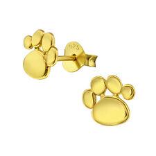 GOLD & 925 Argento Sterling Orecchini A Perno Paw Print Gatto Cane & Confezione Regalo Mini