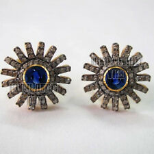 Victorian 1.95cts Rose Cut Diamond Sapphire Studded Silver Studs Earring Jewelry