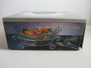 "Godinger Silver Art 4 pc. Salad Bowl Set 11"" Crystal Bowl Rack Pair of Servers"