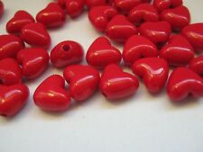 25 Red Heart Beads 10mm Shiny Red Hearts for Valentine's Day Jewellery Making